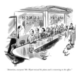"""Attention, everyone! Mr. Wyatt missed his plane and is returning to the o…"" - New Yorker Cartoon Premium Giclee Print by Richard Decker"