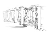 "Man standing on subway platform. Each pillar is a shelf of books labeled ""… - New Yorker Cartoon Premium Giclee Print by Bill Woodman"