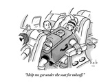 """Help me get under the seat for takeoff."" - New Yorker Cartoon Premium Giclee Print by Bob Eckstein"