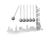 Parody of Newton's cradle. Six wrecking balls dangling outside of an offic… - New Yorker Cartoon Premium Giclee Print by Bob Eckstein