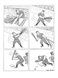 Baseball player swiings various bats only to end up bunting. - New Yorker Cartoon Premium Giclee Print by John Groth