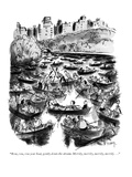 """Row, row, row your boat, gently down the stream. Merrily, merrily, merril…"" - New Yorker Cartoon Premium Giclee Print by Barney Tobey"