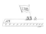 Man leads a group of men carrying a banner that reads 'Lunch' across the t… - New Yorker Cartoon Premium Giclee Print by Saul Steinberg
