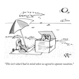 A man emerges from a box on the beach and speaks to a woman lying under an… - New Yorker Cartoon Premium Giclee Print by Farley Katz