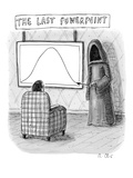 The grim reaper points to a screen as a man in a comfy chair observes the … - New Yorker Cartoon Premium Giclee Print by Roz Chast