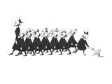 Line of school girls in black wearing gas masks. One stops to touch a flow - New Yorker Cartoon Giclee Print by Christina Malman