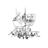 New Year's baby is surrounded by empty liquor bottles. - New Yorker Cartoon Premium Giclee Print by Christina Malman