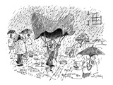 Man carrying apartment building canopy over his head in the rain. - New Yorker Cartoon Premium Giclee Print by Mike Twohy
