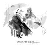 """Mrs. Claus is fine, all the little elves are fine! Now knock it off, will…"" - New Yorker Cartoon Premium Giclee Print by Richard Decker"