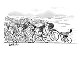 A group of bikers race competitively. At the end of the cluster one kid on… - New Yorker Cartoon Premium Giclee Print by Liam Walsh