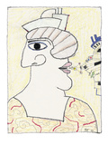 Profile drawing with nose on one side of the head, and the mouth on the ot… - New Yorker Cartoon Premium Giclee Print by Saul Steinberg