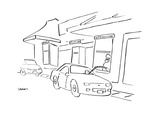 Cars at a drive through that has windows for 'pay,' 'pick-up,' and 'liposu… - Cartoon Regular Giclee Print by Michael Shaw