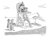 "Two women walk up to a lifeguard stand on the beach. A sign reads, ""NO SEX… - New Yorker Cartoon Premium Giclee Print by Zachary Kanin"