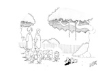 Children and two women stand and watch as a child hits and breaks open wha… - Cartoon Regular Giclee Print by Glen Le Lievre