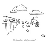 A cat speaks to a group of lemmings as they all jump off of a cliff. - New Yorker Cartoon Premium Giclee Print by Farley Katz