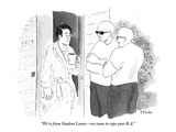 """We're from Student Loans—we came to repo your B.A."" - New Yorker Cartoon Premium Giclee Print by Emily Flake"
