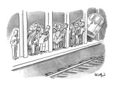 People waiting for a subway peek onto the tracks in anticipation of its ar… - New Yorker Cartoon Premium Giclee Print by Robert Leighton