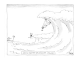 Surfer witnesses Jesus walking on waves in Malibu. - Cartoon Regular Giclee Print by Jack Ziegler