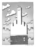 New Trump building West side shore, in shape of obscene gesture. - New Yorker Cartoon Premium Giclee Print by Tom Hachtman