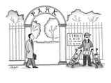 Man standing outside of a park with two baby strollers under a sign that r… - New Yorker Cartoon Giclee Print by Felipe Galindo