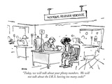 """Today, we will talk about your phony numbers.  We will not talk about the…"" - New Yorker Cartoon Premium Giclee Print by George Booth"