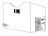 Man leaving giant 'In' box through small 'Out' door. - New Yorker Cartoon Premium Giclee Print by Gahan Wilson