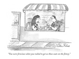 """You were ferocious when you rushed to get us those seats on the Jitney."" - New Yorker Cartoon Premium Giclee Print by Victoria Roberts"