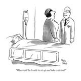 """When will he be able to sit up and take criticism"" - New Yorker Cartoon Premium Giclee Print by Chon Day"