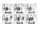 Six-panel drawing of man watching T.V., his hat flies in through an open w… - New Yorker Cartoon Premium Giclee Print by Joseph Farris