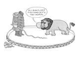Headless lion tamer in circus ring with bull whip tells lion (from within … - New Yorker Cartoon Premium Giclee Print by Gahan Wilson
