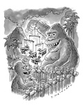 King Kong playing with Baby Kong.  The infant is batting at a biplane mobi… - New Yorker Cartoon Premium Giclee Print by Tom Hachtman