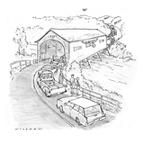 While a moose sticks his head out the side of a covered wooden bridge, tra… - New Yorker Cartoon Premium Giclee Print by Bill Woodman