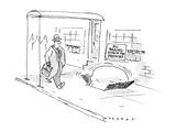 Man walks by establishment with sign in window that reads: 'All Baking Don… - New Yorker Cartoon Premium Giclee Print by Bill Woodman