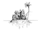 Motorcycle couple on deserted island. - New Yorker Cartoon Premium Giclee Print by Everett Peck