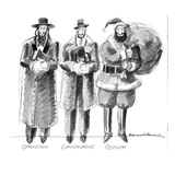Three Jews are standing in a line; they are labeled Orthodox; Conservative… - New Yorker Cartoon Premium Giclee Print by Edward Sorel