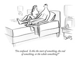 """I'm confused.  Is this the start of something, the end of something, or t…"" - New Yorker Cartoon Giclee Print by Julia Suits"