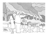 Family at lookout point with sign that reads, 'Outstandingly Polluted Site… - New Yorker Cartoon Premium Giclee Print by Gahan Wilson