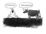 A guru is sitting cross-legged on the grass saying 'Ooommm.'  A cow not fa… - New Yorker Cartoon Premium Giclee Print by Mischa Richter