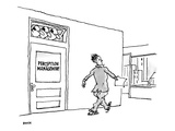 Executives peering over an office door labeled, 'Perception Management' as… - New Yorker Cartoon Premium Giclee Print by George Booth