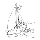 Man in boat raises drowing woman flag. - New Yorker Cartoon Premium Giclee Print by Bill Woodman