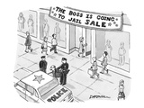 Man being taken into police custody in front of store with banner that rea… - New Yorker Cartoon Premium Giclee Print by C. Covert Darbyshire