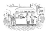 In a bank or another financial institution, people with salad tongs are ga… - New Yorker Cartoon Premium Giclee Print by Mike Twohy
