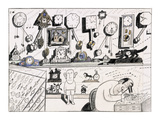 Clock maker working on clock. Various clocks on shelf and watches in displ… - New Yorker Cartoon Premium Giclee Print by Saul Steinberg