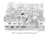 """Was it you, Honey, ordered the tasting menu"" - New Yorker Cartoon Premium Giclee Print by Victoria Roberts"