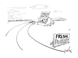 Sign on country road reads &quot;Fresh Poetry&quot;. - New Yorker Cartoon Premium Giclee Print by David Pascal