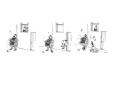 3 drawings. A man plays a accordion beneath a window.  The man in window l… - New Yorker Cartoon Premium Giclee Print by George Booth