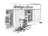 Businessman walking past a Savings & Loan stops to put his finger in a hol… - New Yorker Cartoon Premium Giclee Print by Kenneth Mahood