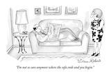 """I'm not so sure anymore where the sofa ends and you begin."" - New Yorker Cartoon Premium Giclee Print by Victoria Roberts"