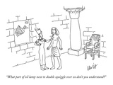 """What part of oil lamp next to double squiggle over ox don't you understan…"" - New Yorker Cartoon Premium Giclee Print by Eric Lewis"