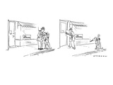 "Man sees ""No Smoking"" sign in window of store in panel one, as he ties up … - New Yorker Cartoon Premium Giclee Print by Bill Woodman"